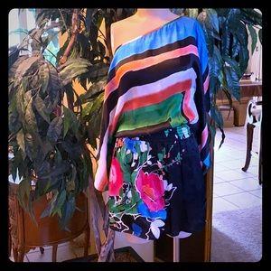 Bebe silk top with elastic waist off shoulder